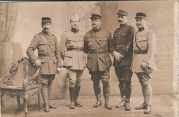 Rare Photo-carte 5 Officiers Et Sous Officiers - 1914-18