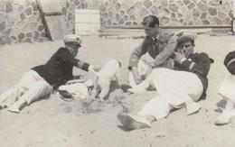 Rare Photo-carte Aviateurs Lieutenant Capitaine Et Commandant Sur Plage Avec Chien - 1939-45