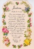 PRENOMS - FEMME - Jolie Carte Fantaisie Fleurs -  Prénom JUSTINE - Prénoms