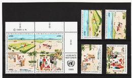 SRO79 VEREINTE NATIONEN UNO WIEN 1986 Michl 56/59 VIERERBLOCK U.SATZ ** Postfrisch - Wien - Internationales Zentrum
