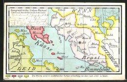 AK Geographisches Liebes-Rätsel - Landkarten