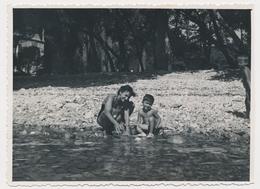 REAL PHOTO,Swimsuit Woman And Boy On Beach  Femme En Maillot De Bain Et Garcon Sur Plage Old  ORIGINAL - Photographs