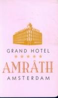 Netherlands Hotel Key,Grand Hotel Amrath Amsterdam  (1pcs) - Netherlands