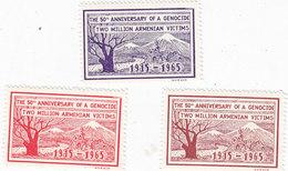 Lebanon-Liban Label For 50th Ann.of Armenian Genocide 1965 3v.cpl.set MNH- Scarce - SKRILL PAYMENT ONLY - Lebanon