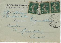 Y&t 137 Semeuse Paire Sur Pli Cette Café Du Grand ?? 12,quai De Bosc 1917 - France