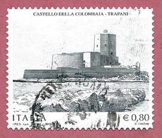 ITALIA REPUBBLICA USATO 2015 - Patrimonio Artistico E Culturale Italiano Castello Colombaia Trapani  - € 0,80 - S. 3574 - 6. 1946-.. Republic