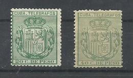 CUBA EDIFIL TELEGRAFOS  66/67  MH  * - Cuba (1874-1898)