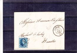 Belgique - Lettre De 1865 - Oblit Liège - Exp Vers Bruxelles - Cachet à Points 217 - 1863-1864 Médaillons (13/16)