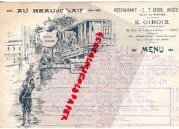 75- PARIS- RARE MENU AU BEAUJOLAIS- RESTAURANT -E. GIROIX EX CHEF DU CHATEAU DE MADRID-16 RUE CHATEAU D' EAU-1924 - Menus