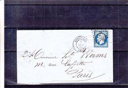 France - Lettre De 1856 - Oblit Bordeaux - Exp Vers Ribemont - Cachet Bordeaux à Pais - 1853-1860 Napoleon III