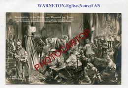 WARNETON-Dessin-Nouvel AN Dans L'Eglise-CARTE PHOTO Allemande-GUERRE 14-18-1WK-Belgien-France-??-Militaria - Comines-Warneton - Komen-Waasten