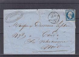 France - Lettre De 1857 - Oblit Paris - Exp Vers Condé - Cachet Condé Sur L'Escaut - 1853-1860 Napoleon III