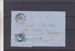 France - Lettre De 1858 - Oblit Valognes - Exp Vers Lille - Cachet Cherbourg à Paris Et Paris à Calais - Timbre 4 Marges - 1853-1860 Napoleon III
