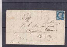 France - Lettre De 1860 - Oblit Montpellier - Exp Vers Cette - Timbre 4 Marges - 1853-1860 Napoleon III