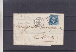 France - Lettre De 1860 - Oblit Orleans - Exp Vers Caen - Cachet Limoges à Paris - Timbre 4 Marges - 1853-1860 Napoleon III