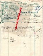 75- PARIS- RARE BELLE FACTURE PAUL BELOIN-FABRIQUE EVENTAILS-EVENTAIL-PAPIER ETOFFE-SOIE-14 RUE CHATEAU D' EAU-1919 - Petits Métiers