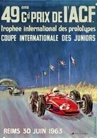 Car Automobile Grand Prix Postcard ACF Reims 1963 - Reproduction - Pubblicitari