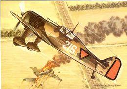 Les Chasseurs De La Seconde Guerre Mondiale Dessin Francis Bergèse (dessinateur De Buck Danny) Fokker D-XXI Hollande - 1939-1945: 2ème Guerre