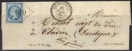 Chasseneuil (Charente) : LSC Càd 22, GC 910 Sur Dentelé N°22, 1865. - Marcophilie (Lettres)
