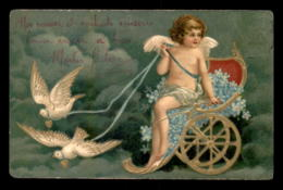 FANTAISIES - ANGES - MYOSOSTIS - COLOMBES - CARTE GAUFREE - VOIR ETAT - Anges