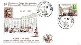 BELGIQUE. N°1250 De 1963 Sur Enveloppe 1er Jour. Conférence Postale Internationale De Paris. - Poste