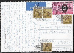 TANZANIA - CARTOLINA ILLUSTRATA DA MOSHI VIA AEREA - AFFRANCATURA MISTA - Tanzania (1964-...)