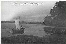 Saint Aubin De Pouancé. La Barque à Voile Sur L'étang De Saint Aubin De Pouancé. - France