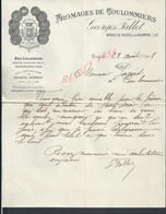 LETTRE COMMERCIALE ILLUSTRÉE DE 1908 GEORGES FALLET FROMAGES DE COULOMMIERS À BOISSY LE CHATEL PETITE DECHIRURE : - France