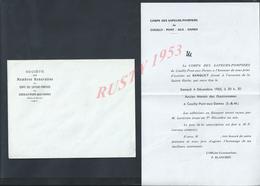 MENU CORPS DES SAPEURS POMPIERS DE COUILLY PONT AUX DAMES 1965 SAINTE BARBE : - Pompiers