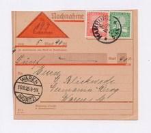 DR Beleg Nachnahme MiF MiNr. 372 373 Von HAMBURG > WAREN 1925 - Deutschland