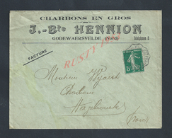 LETTRE COMMERCIALE SUR TIMBRE J Bte HENNION CHARBONS EN GROS À GODEWAERSVELDE NORD : - France