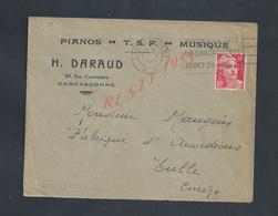 LETTRE COMMERCIALE SUR TIMBRE DE 1948 H DARAUD PIANOS T S F MUSIQUE À CARCASSONNE : - France