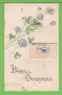 CARTE AVEC UNE LETTRE COLLEE/ CONTENANT UN MESSAGE / BONS SOUHAITS.... Carte écrite En 1906 - Fantaisies