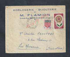 LETTRE COMMERCIALE SUR TIMBRES DE 1965 M FLAMION HORLOGERIE BIJOUTERIE À SAINTE GAUBURGE ORNE :: - France