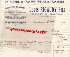87- SAINTJUNIEN- RARE FACTURE LOUIS RIGAUDY FILS- ENTREPRISE TRAVAUX PUBLICS TRANSPORTS-CARRIERES PORPHYRE AU PAVILLON - Petits Métiers