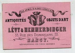 """CdV - NANCY (54) - """"Aux Armes D'Alsace Lorraine"""" Lévy & Hemmerdinger Antiquités Objets D'Art - Cartes De Visite"""