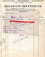 87- SAINT LEONARD DE NOBLAT-RARE FACTURE BARON - MONDON-EBENISTERIE-MENUISERIE-EBENISTE MENUISIER-PASSAGE PYRAMIDE-BOYER - Petits Métiers