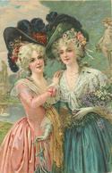 COUPLE DE FEMMES AUX CHAPEAUX - Carte Illustrée. - Femmes