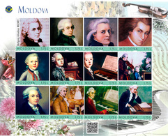 Moldova 2018, Music, Wolfgang Amadeus Mozart, Sheet Of 12v - Moldavie