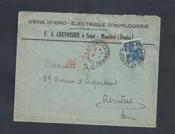 LETTRE COMMERCIALE SUR TIMBRE F J CREVOISIER USINE HYDRO ÉLECTRIQUE D HORLOGERIE À SAINT MAURICE DOUBS : - France
