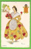CARTE AVEC BRODERIES / TISSUS /  ESPAGNE / VALENCIA.... Carte Vierge - Brodées