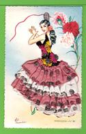 CARTE AVEC BRODERIES / TISSUS / PAILLETTES /  ESPAGNE / ANDALUCIA.... Carte Vierge - Brodées