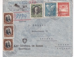 CHILI 1934 PLI AERIEN RECOMMANDE DU CONSULAT SUISSE A SANTIAGO AVEC CACHET ARRIVEE LUZERN - Chili