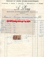 87- ST-SAINT VICTURNIEN - RARE FACTURE A. DONY-MOULIN USINE HYDRO ELECTRIQUE-ELECTRICITE-FARINES-SONS-HUILES-CIDRE-1928 - Artesanos