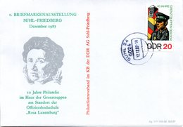 """(DDR-B2) DDR Sonderumschlag """"Haus Der Grenztruppen Offiziershochschule Rosa Luxemburg"""" EF Mi 3048, TSt.12.12.87 SUHL 24 - [6] Democratic Republic"""