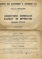 77 Sucrerie De COULOMMIERS - Sté Raffineries & Sucreries SAY Conditions Gales Achat Betteraves - Campagne 1952-1953 4 P. - Coulommiers