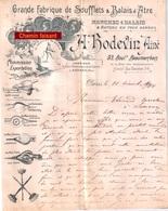 Très Beau Document Du 10/12/1900 BODEVIN Grande Fabrique De Soufflets & Balais D'âtre - Paris 75 & Hermes 60 - France