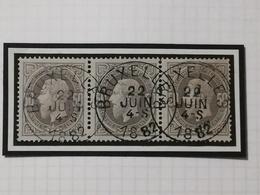 COB N° 35 (bande De Trois) Oblitération Bruxelles 1882 - 1869-1883 Léopold II