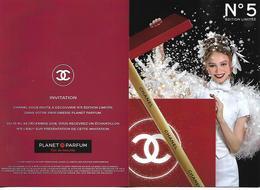 """CHANEL """" N°5 Rouge """" Noël 2018   Carte D'invitation 2 Volets - Cartes Parfumées"""