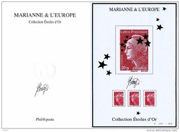 """COFFRET """"BLOCS PRESTIGE N° 2503"""" COLLECTION ETOILES D'OR """"MARIANNE & L'EUROPE"""" SIGNE DU GRAVEUR YVES BEAUJARD - France"""